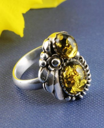 Amber Floral Spray Ring R-0108-a