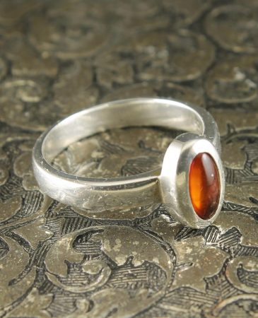 Amber Small Oval Sterling Silver Ring R-0109-a