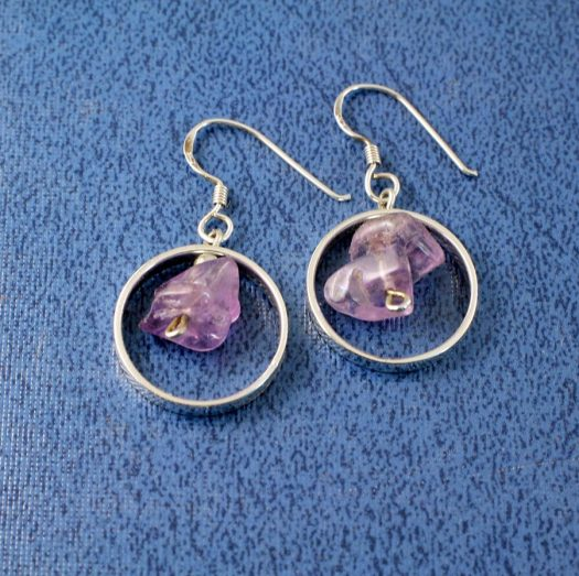 Amethyst Chip Ringed Drops E-0164-a