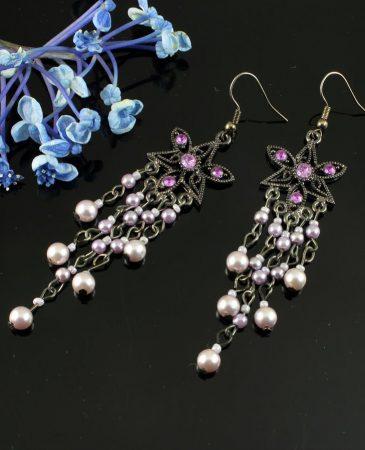 Amethyst & Pearl Floral Drops E-0157-b