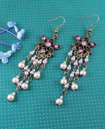 Amethyst & Pearl Floral Drops E-0157-e