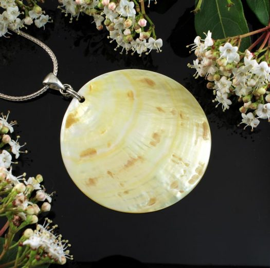 Beige Mother-of-Pearl Circle N-0172-l