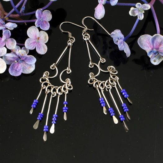 Blue Bead Chandelier Earrings E-0186-a