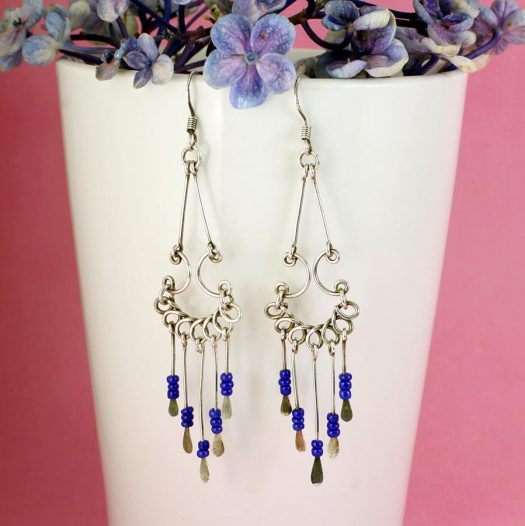 Blue Bead Chandelier Earrings E-0186-b