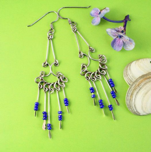 Blue Bead Chandelier Earrings E-0186-c