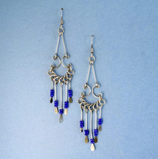 Blue Bead Chandelier Earrings E-0186-d