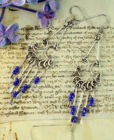Blue Bead Chandelier Earrings E-0186-e