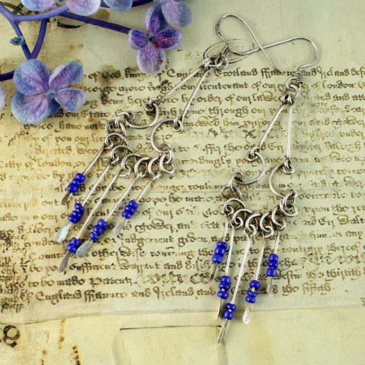 Blue Bead Chandelier Earrings E-0186-e