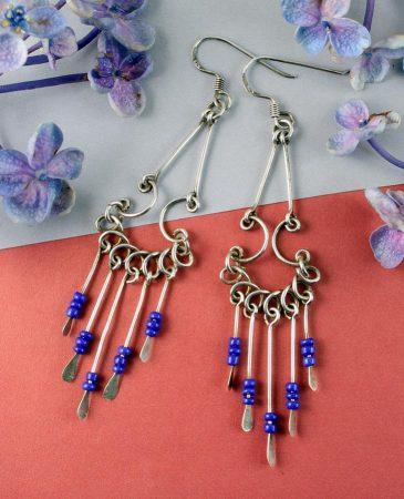 Blue Bead Chandelier Earrings E-0186-f