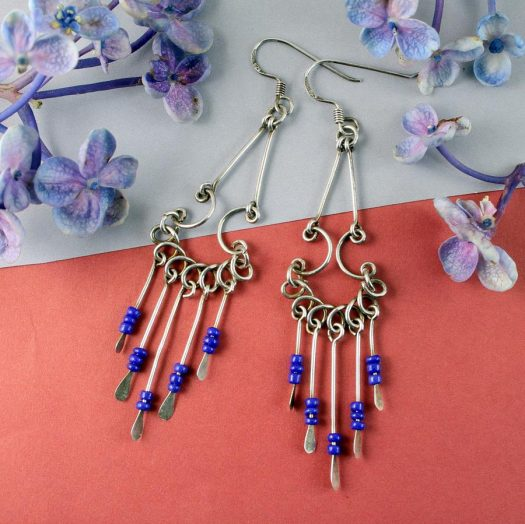 Blue Bead Chandelier Earrings E-0186-f