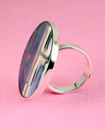 Blue Mondrian Ring R-0102-h