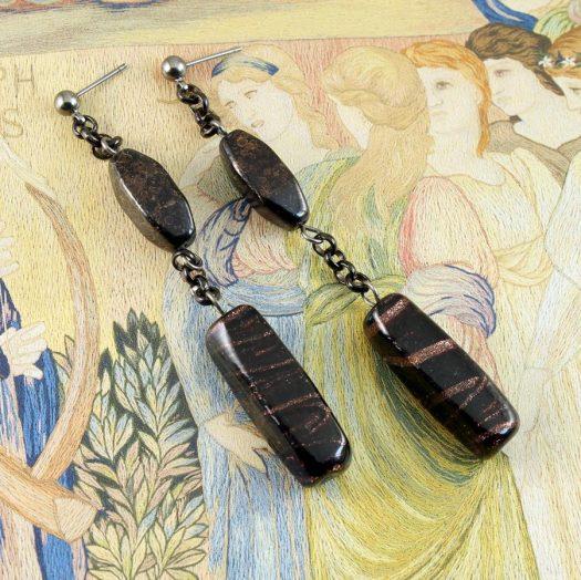 Bronze Bead Earrings E-0202-a