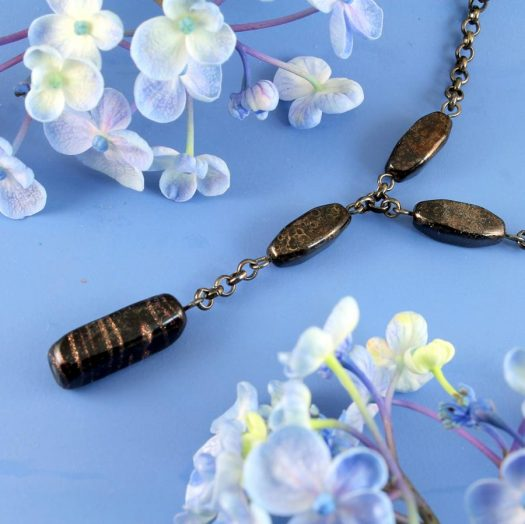 Bronze Bead Necklace N-0161-a
