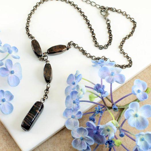 Bronze Bead Necklace N-0161-c