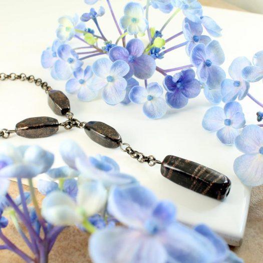 Bronze Bead Necklace N-0161-f