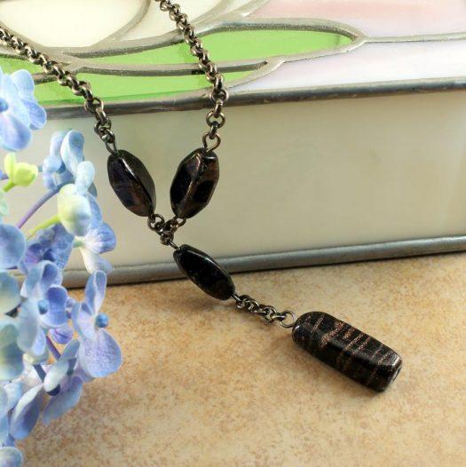 Bronze Bead Necklace N-0161-h