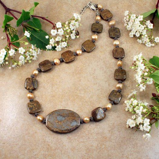 Bronzite Freshwater Pearls N-0120-d