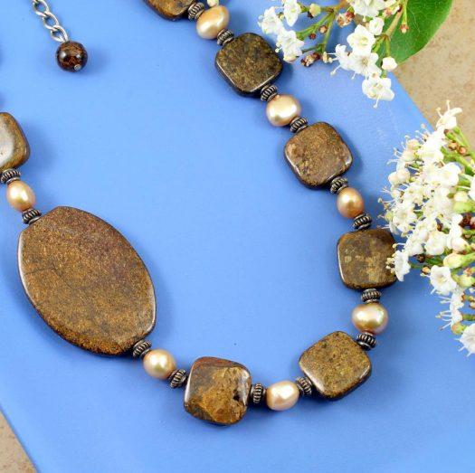 Bronzite Freshwater Pearls N-0120-e
