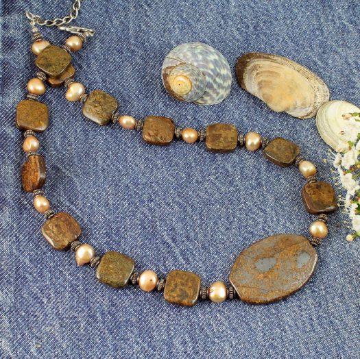 Bronzite Freshwater Pearls N-0120-g