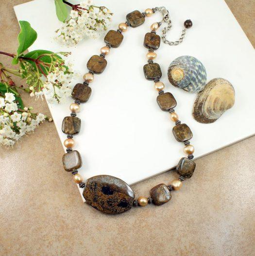 Bronzite Freshwater Pearls N-0120-j