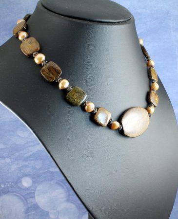 Bronzite Freshwater Pearls N-0120-l