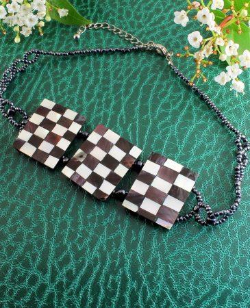 Chequerboard Collar-Choker N-0151-a