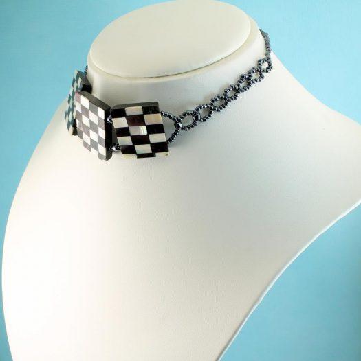 Chequerboard Collar-Choker N-0151-b