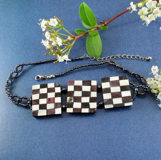 Chequerboard Collar-Choker N-0151-c