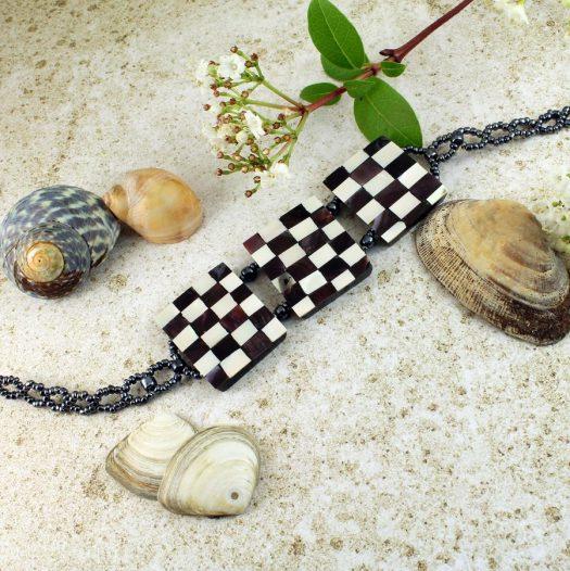 Chequerboard Collar-Choker N-0151-d