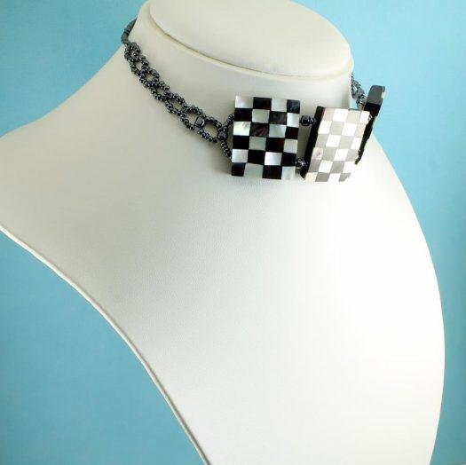 Chequerboard Collar-Choker N-0151-e