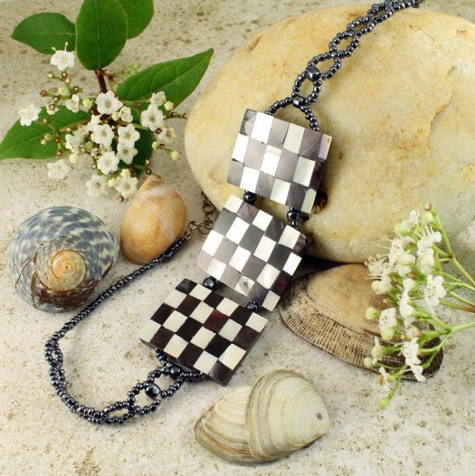 Chequerboard Collar-Choker N-0151-f