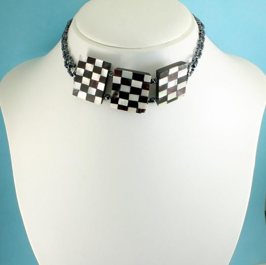 Chequerboard Collar-Choker N-0151-h