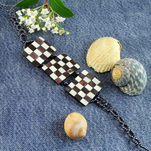 Chequerboard Collar-Choker N-0151-j