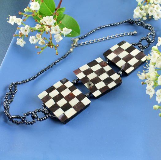 Chequerboard Collar-Choker N-0151-k