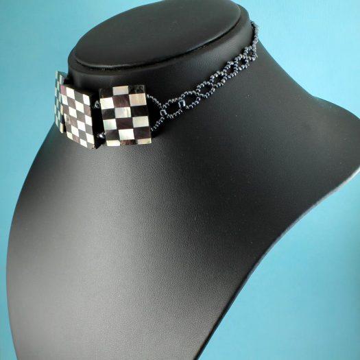 Chequerboard Collar-Choker N-0151-l
