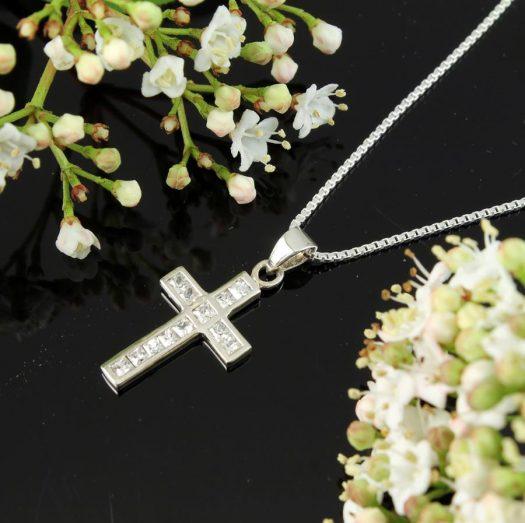 Cubic Zirconia Silver Cross N-0111-a