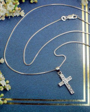 Cubic Zirconia Silver Cross N-0111-b