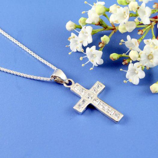 Cubic Zirconia Silver Cross N-0111-f