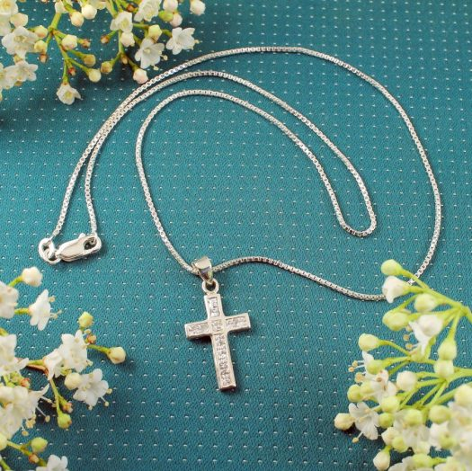 Cubic Zirconia Silver Cross N-0111-i
