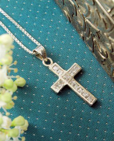 Cubic Zirconia Silver Cross N-0111-j