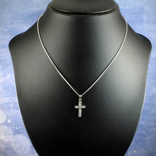 Cubic Zirconia Silver Cross N-0111-k