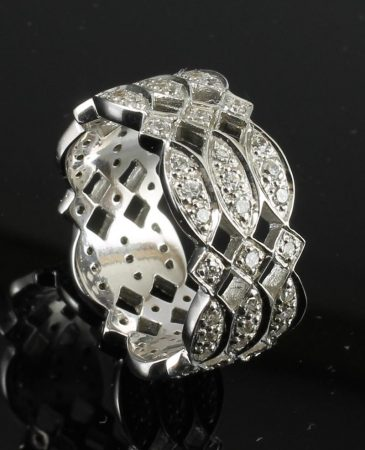 Cubic Zirconia & Silver Statement Ring R-0141-b (Copy)
