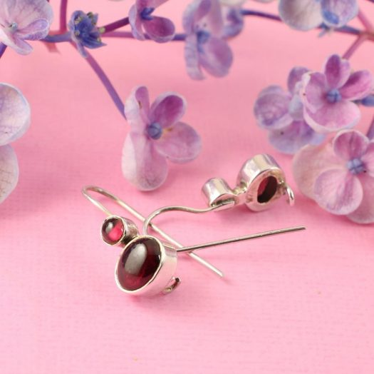 Garnet Two-Stone Earrings E-0174-a