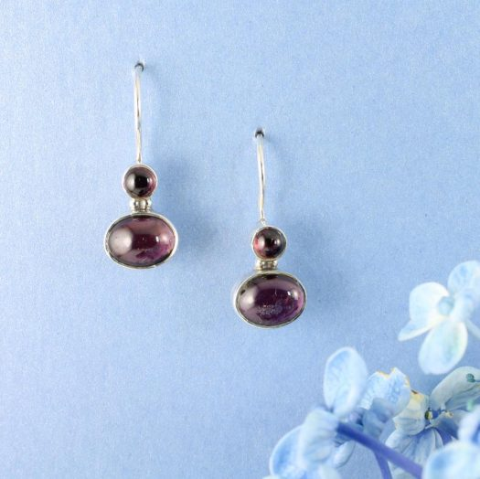 Garnet Two-Stone Earrings E-0174-c