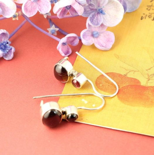 Garnet Two-Stone Earrings E-0174-h