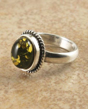 Green Amber Oval Ring  R-0110-a (Copy)