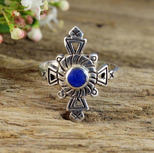 Lapis & Silver Aztec Ring R-0196-b