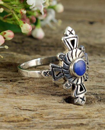 Lapis & Silver Aztec Ring R-0196-d