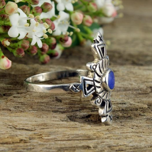 Lapis & Silver Aztec Ring R-0196-e