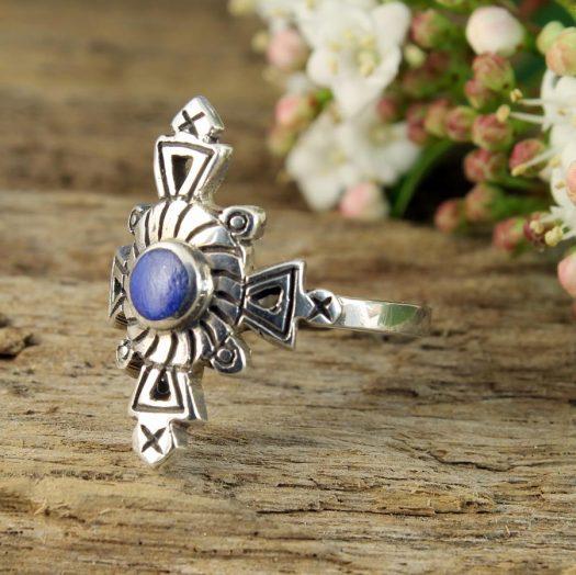 Lapis & Silver Aztec Ring R-0196-j